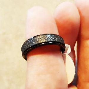 Black Stainless Steel Diamond Dust Wedding Band S6